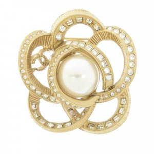 Chanel Rhinestone Flower Faux Pearl Brooch