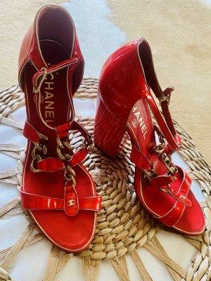 Chanel Sandales à plateforme multicolore cuir