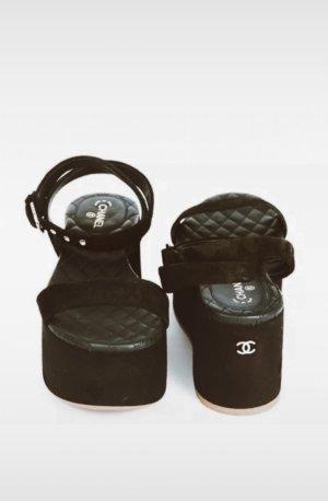 Chanel Platform High-Heeled Sandal black-gold-colored