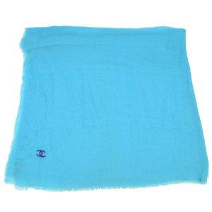 Chanel Écharpe en tricot bleu coton