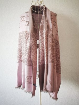 Chanel Cashmere Scarf oatmeal-dusky pink