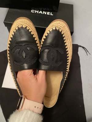 Chanel Mocasines beige-negro