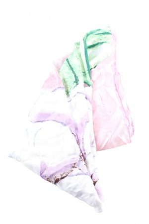 Chanel Silk Scarf pink-green allover print casual look