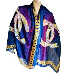 Chanel Zijden sjaal blauw-lila Zijde