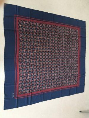 Chanel Foulard en soie rouge carmin-bleu foncé soie