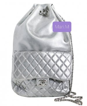 Chanel Backpack Trolley silver-colored