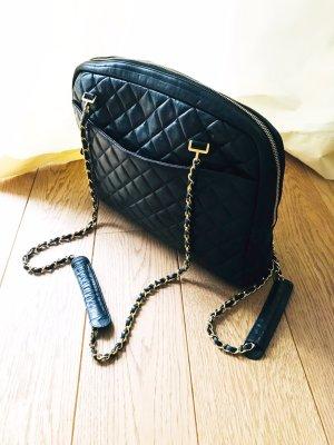 Chanel Shopper noir-rouge foncé cuir