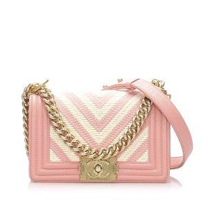 Chanel Bandolera rosa Cuero