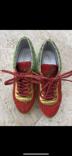 Chanel Sneakers met veters baksteenrood-groen