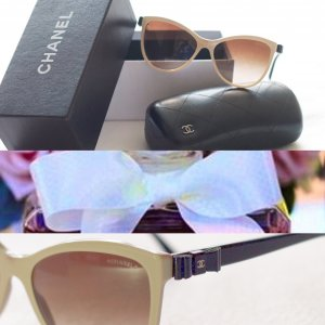 Chanel Occhiale a farfalla color carne-nero