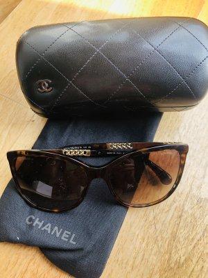 Chanel Lunettes de soleil angulaires brun-doré
