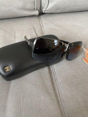 Chanel Occhiale da sole ovale nero-bianco