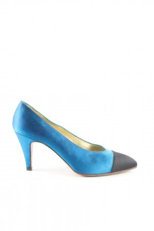 Chanel Spitz-Pumps blau-schwarz Business-Look