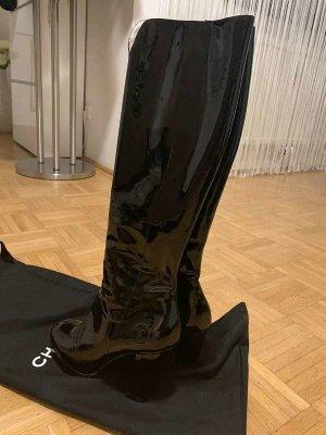 Chanel Bottes à talon noir cuir