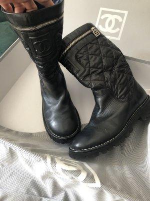 Chanel Stiefel Biker Boots Leder gesteppt zippy