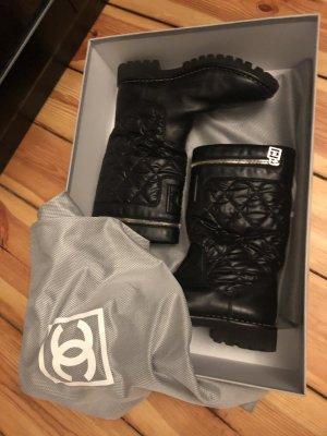 Chanel Stivale invernale nero-grigio chiaro Pelle