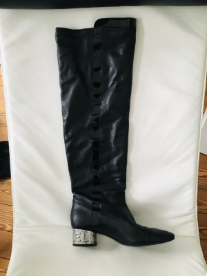 Chanel Overknees black-silver-colored leather