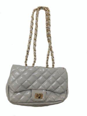 CHANEL Stil Tasche - hellgrau - glänzend mit klassischer Steppung ++ TOP ++