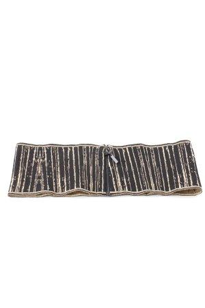Chanel Ceinture en tissu noir-doré motif rayé style décontracté