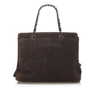 Chanel Tote dark brown suede