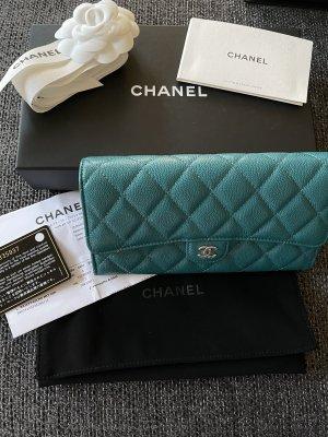 Chanel Portemonnee cadet blauw Leer