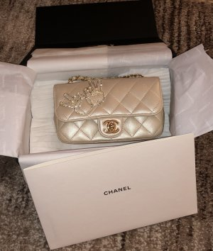 Chanel timeless mini gold beige