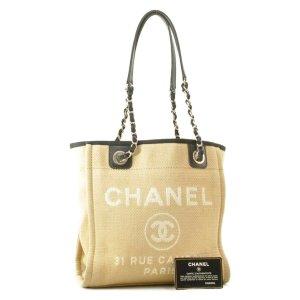 Chanel Sac à main beige fibre textile