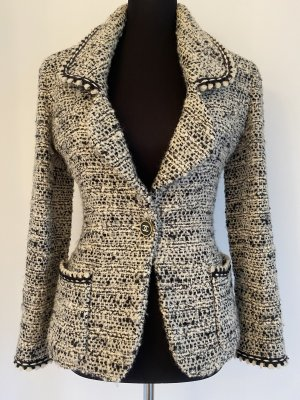 Chanel Tweed blazer zwart-wit Wol