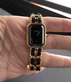 Chanel Zegarek ze skórzanym paskiem czarny-złoto