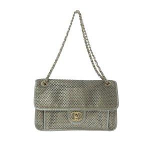 Chanel Shoulder Bag silver-colored leather