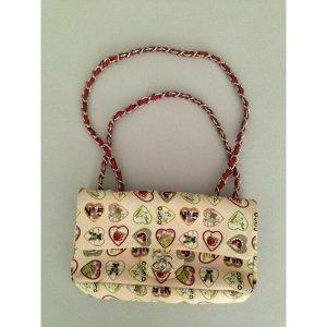 CHANEL Valentine Herz Motiv Kette Hand Bag  Elfenbein Navy Leinen