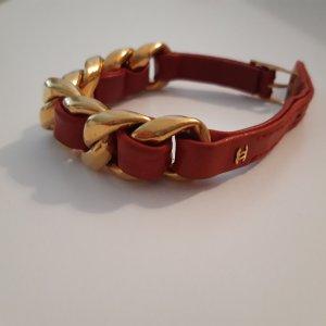 Chanel Brazalete de cuero color oro-rojo oscuro