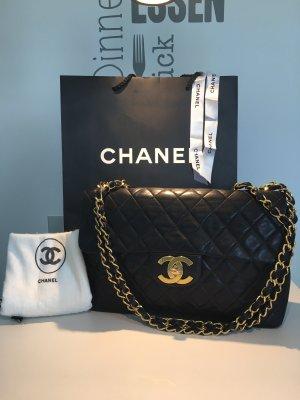 Chanel Vintage Flap Bag 94-96 Maxi Lammleder Schwarz