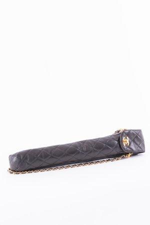CHANEL - Vintage Regenschirmtasche Schwarz Leder