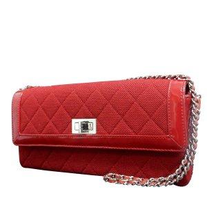 Chanel Sac porté épaule rouge fibre textile