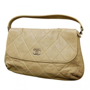Chanel Shoulder Bag beige leather