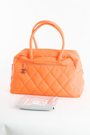 CHANEL - Weekend-Shopper Biarritz Duffle Quilted Canvas Neonorange