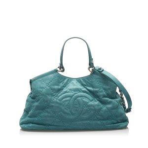 Chanel Satchel blauw Leer