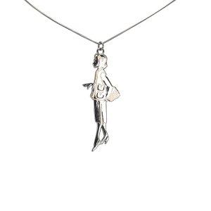 Chanel Woman Silver Pendant Necklace