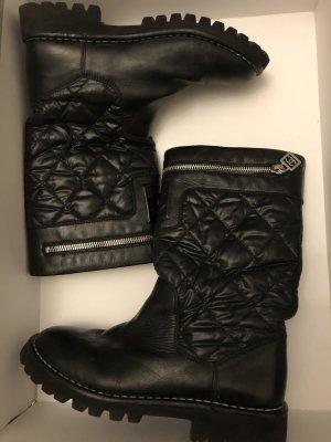 Chanel Zippy Leder Stiefel Schuhe Boots Biker 37 Staubbeutel Karton