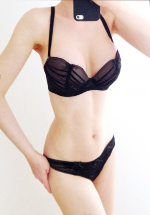 CHANTAL THOMASS Tulle Froncé Plunge Bra BH 70 D + String XS black nude