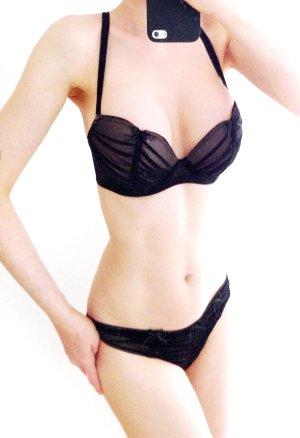 CHANTAL THOMASS Tulle Froncé Plunge Bra BH 70 D + String XS black nude – Set