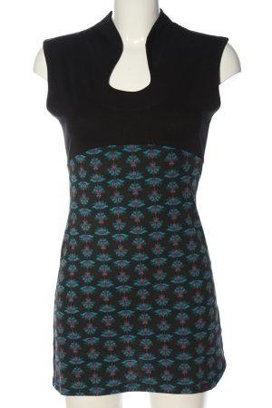 Chapati Minikleid schwarz-türkis grafisches Muster Casual-Look