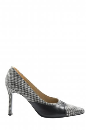 Charles Jourdan Pointed Toe Pumps black-white graphic pattern business style
