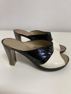 Charles Jourdan Heel Pantolettes black leather