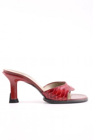 Charles Jourdan High-Heeled Toe-Post Sandals red animal pattern