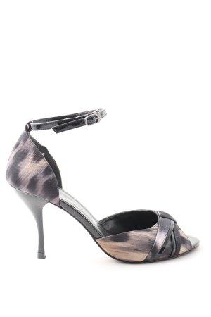 Charles & Keith High Heel Sandaletten schwarz-nude abstraktes Muster Casual-Look