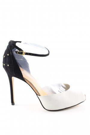 Charles & Keith Peep Toe Pumps black-white elegant
