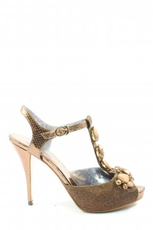 Charles & Keith T-Strap Sandals gold-colored-brown elegant