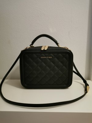 Charles & Keith Crossbody bag black-gold-colored imitation leather
